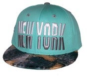 Image of New York Tiffany Blue Custom Dye Croc Print Snapback Hat