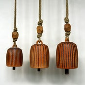 Image of Raw Thrown Bells with Iron Stripes & Faceted Beads