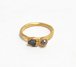 Image of Rough and faceted diamond ring, gold plated sterling silver