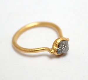 Image of Rough diamond ring, gold plated sterling silver