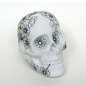 Image of Cherry Blossom Porcelain Skull Bank