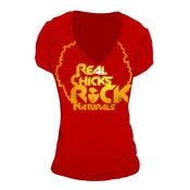 Image of Real Chicks Rock Naturals: Red With Gold Foil Print