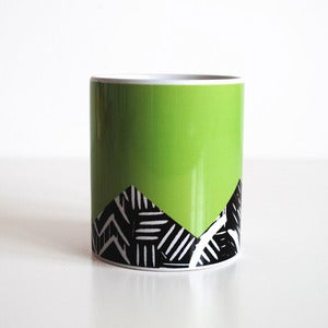 Image of Green lino print design mug