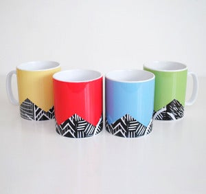 Image of Set of four lino print design mugs