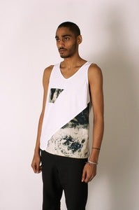 Image of White Jersey Vest with Diagonal Marble Dye Sheeting Panel and Pocket