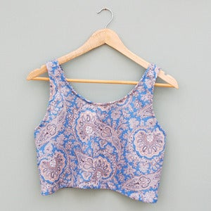 Image of Handmade Baby Blue Paisley Floral Crop Top by Laura Ralph