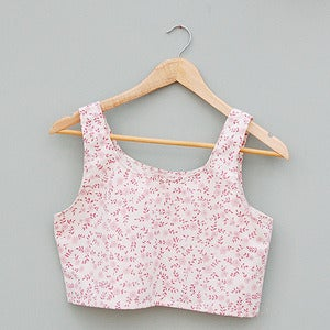 Image of Handmade White and Pink Floral Crop Top by Laura Ralph 