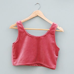 Image of Handmade Dusky Pink Velvet Crop Top by Laura Ralph 