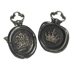 Image of Oxidised Personalised Wax Seal Cufflinks (A-Z)