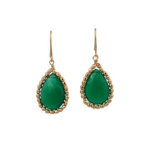 Image of Gemma Earring-Green Onyx