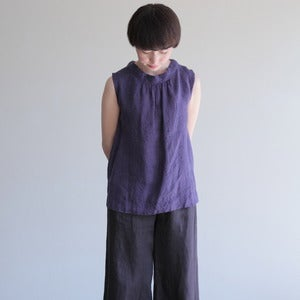 Image of Sidonie Sleeveless Top: Purple Navy