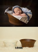 Image of Oval Metal Tubs - RUST or CREAMY WHITEWASH - Newborn Toddler