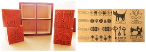 Image of Set of Decorative Wooden Rubber Stamps 
