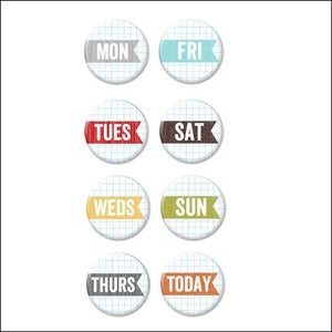 Image of weekday banner badge buttons