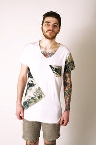 Image of White T-Shirt with Marble Dye Sheeting Panels and Pocket