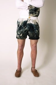 Image of Cotton Marble Dye, Double Pleated Shorts with Contrast Waistband