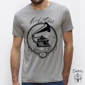 Image of T-shirt Vinyl Addict Vintage Club gris