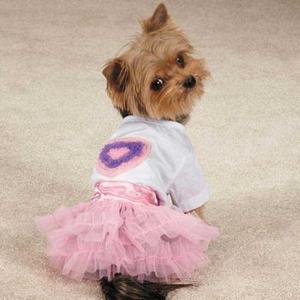 Image of Zack & Zoey Chiffon Hearts Dog T-Shirt and Skirt Set