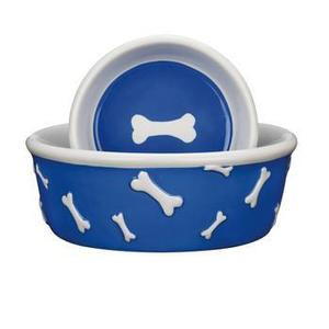 Image of Pet Studio Blue Ribbon Bone Dog Dishes - Blue
