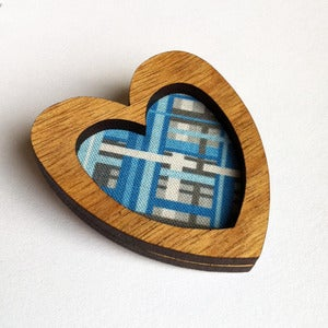 Image of Heart Brooch - Linear in Aquamarine (Free Shipping)