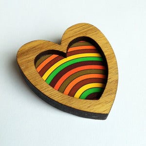 Image of Heart Brooch - Retro Stripes (Free Shipping)
