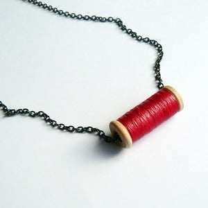 Image of Un-Reel Pendant Necklace - Raspberry