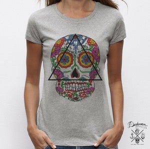 Image of T-shirt femme gris Santa Muerte 