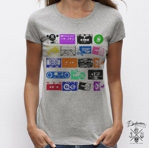 Image of T-shirt femme gris K7 vintage tapes colors