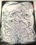 Image of SEA-MONKEY BATTLE original ink drawing