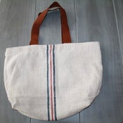 Image of Blue and Red Striped Tote Bag