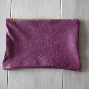 Image of Leather Clutch - Pebbled Purple