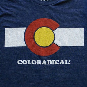 Image of Coloradical Colorado Flag T-Shirt- Women's Dark Blue