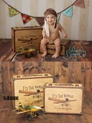 Image of Fly The World Suitcase Set - TWO Sizes - Vintage Style Airplane