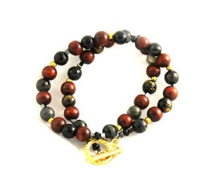 Image of Wood & Polished Stone Peace Bracelet