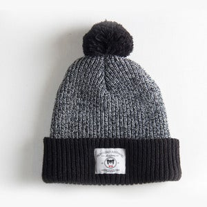 Image of The brooks Pom Pom beanie, Black & Grey
