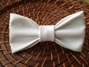 Image of Bright White Leather Bow Tie