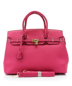 "Image of ""Emma"" Fuchsia Hermes Inspired Birkin Bag"