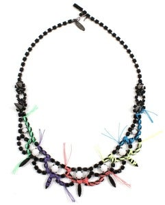 Image of Let Them Eat Cake Crystal Necklace W/Multi Bright Thread Details - Jet/Multi Bright