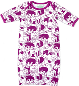 Image of Organic Newbie Gown - Zoo, Purple