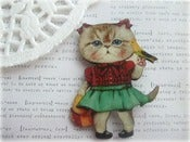 Image of Girl Kitty Cat with Bird Brooch