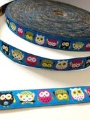 Image of Owls woven ribbon (by the metre)