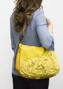 Image of - S O L D - large tough ruffles shoulder bag in perfect yellows