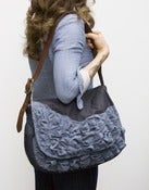 Image of -S O L D- large tough ruffles shoulder bag in vintage dark denim + slate