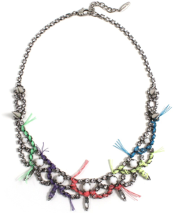 Image of Let Them Eat Cake Crystal Necklace W/Multi Bright Thread Details - Crystal/Multi Bright