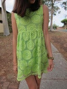 Image of Daisy Embroidery Babydoll Dress - Neon Green