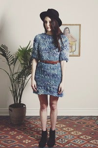 Image of halton hand knit merino sweater dress (shown in dark sky)