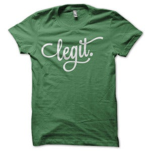 Image of legit Logo Graphic T-Shirt - Green &amp; White