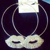 Image of Rhinestone Lip Hoop Earrings 