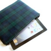 Image of Black Watch Tartan Wool iPad Case, Tech Pouch, Zippered Bag