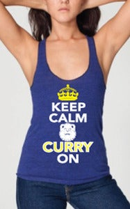 Image of Womens: Keep Calm & CURRY On : Racerback (Royal Blue)